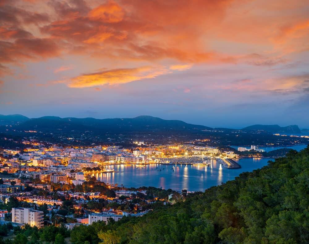 Santa Eulalia Eularia des Riu skyline sunset Ibiza at Balearic Islands
