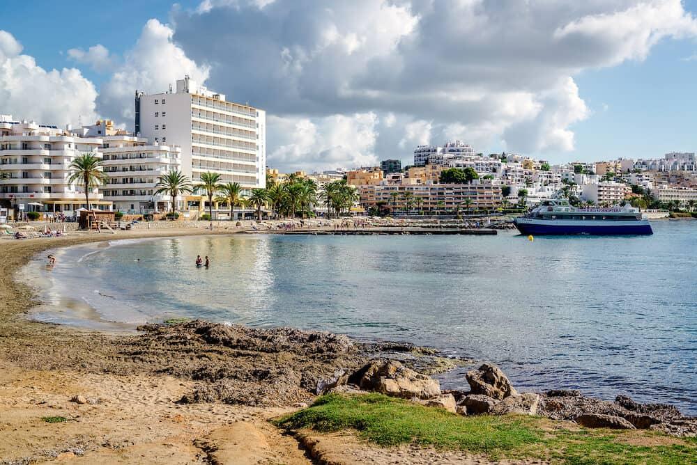 Ibiza Spain- View of a popular Figueretas beach lovely small beach in Ibiza. Balearic Islands Spain