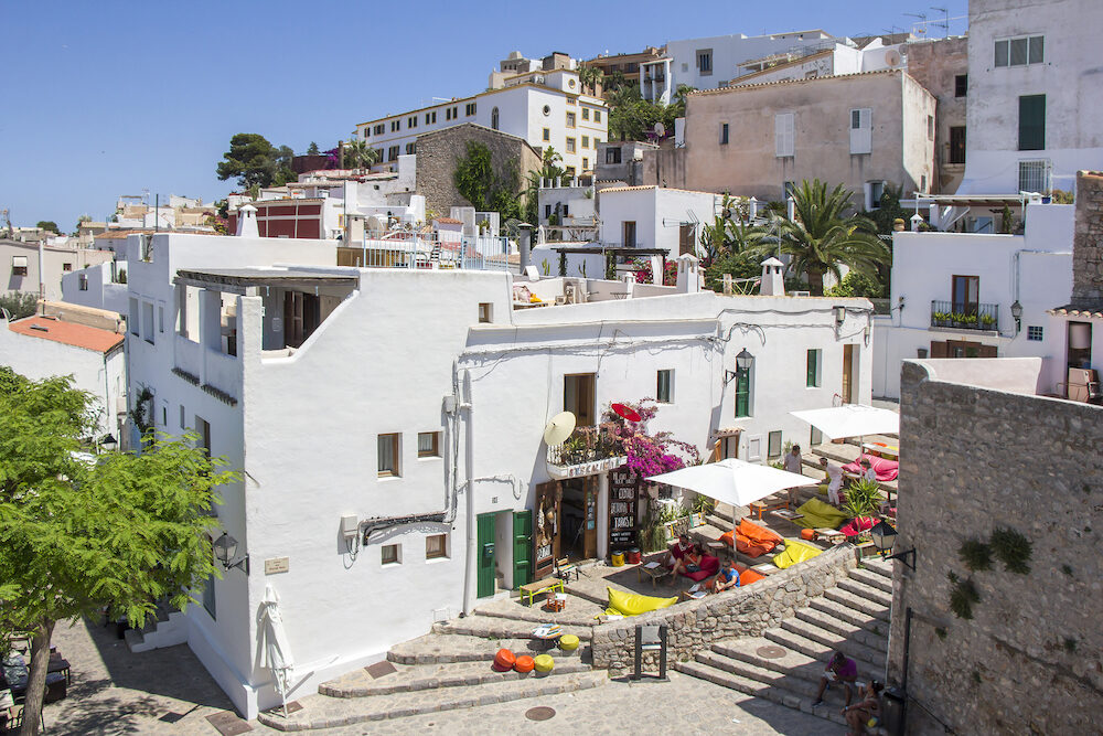 IBIZA, SPAIN - View of the Ibiza old town streets in Dalt Vila plenty of restaurants. IBIZA is one of the Balearic islands that are located in the Mediterranean Sea