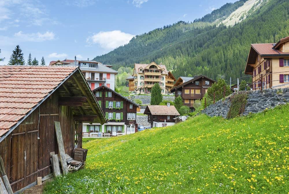 Idyllic view of rural landscape of Wengen, Swiss