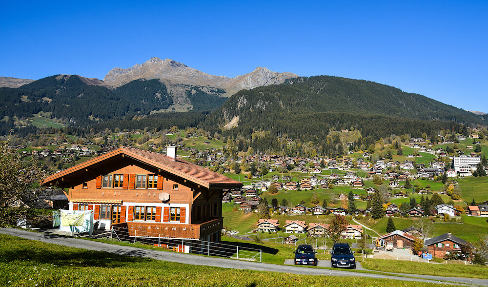Grindelwald, Switzerland - Mountain town in Grindelwald, Switzerland. Grindelwald was one of the first tourist resorts in Europe.