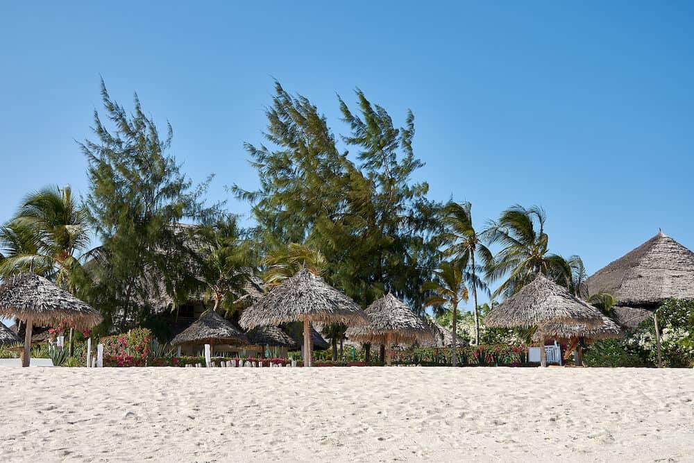 Holidays in Kenya. Coastline with beach on sea shore in Watamu area in Africa.
