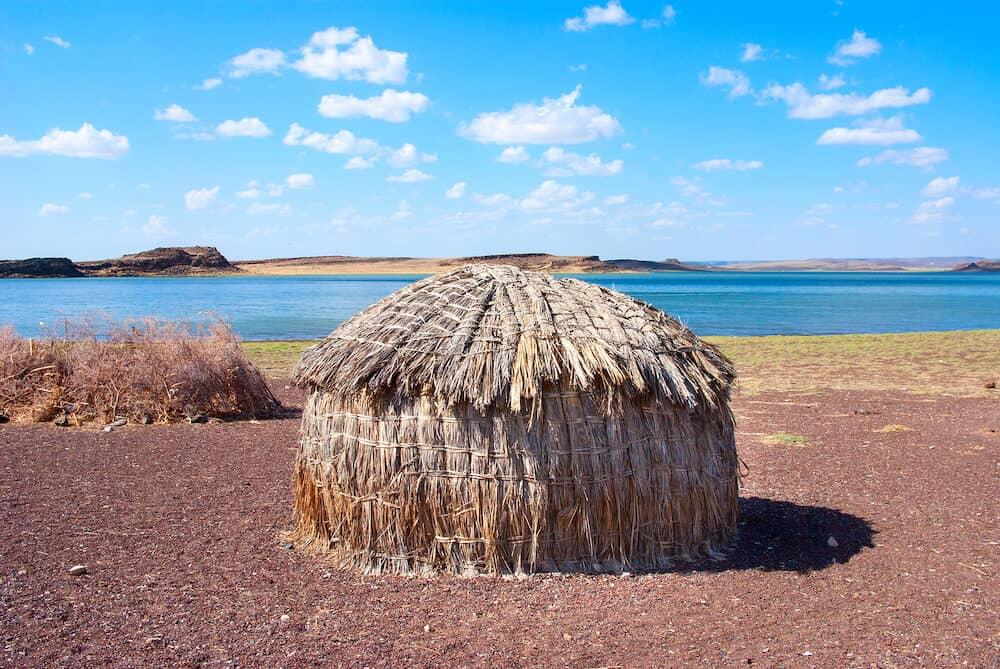 Traditional african huts (EL Molo huts) Lake Turkana in Kenya