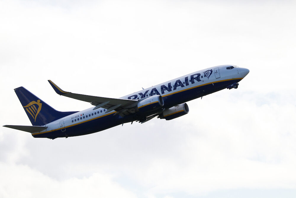 Cork, Ireland - A Ryanair airplane takes off at Cork International Airport on a cloudy day