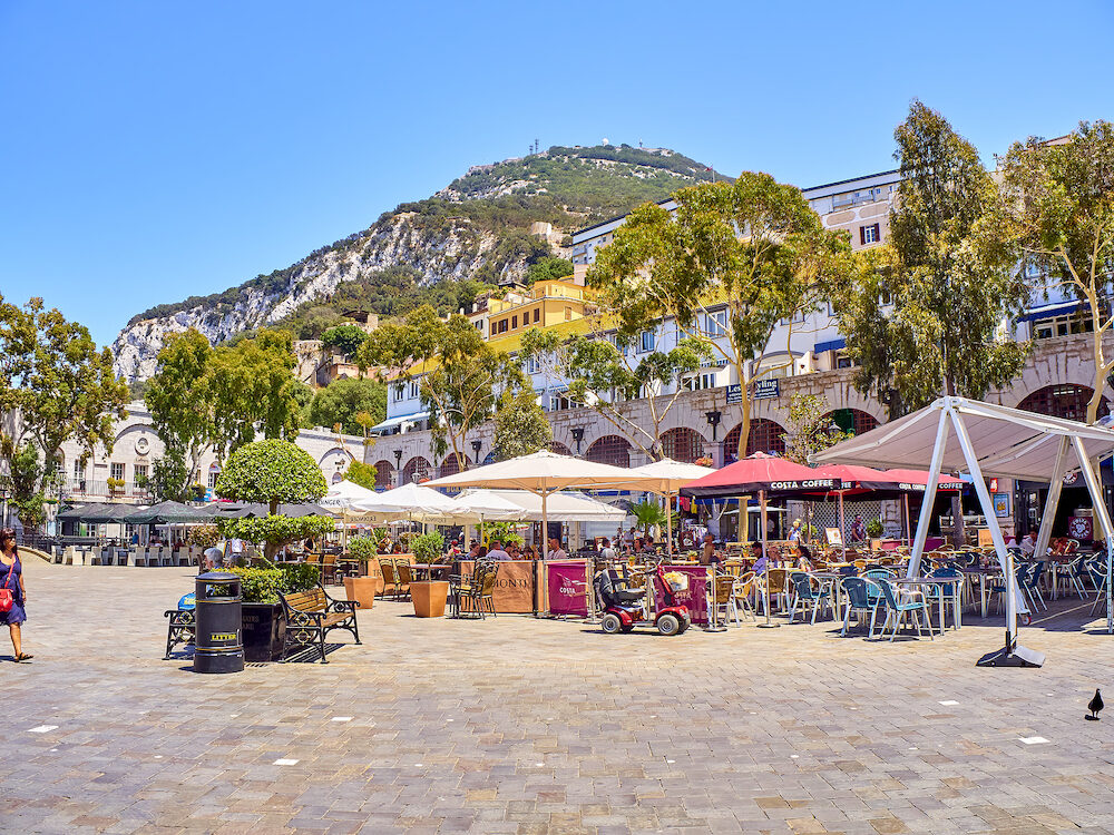 Gibraltar, UK - Casemates Square of Gibraltar downtown. View from Main street. Gibraltar. British Overseas Territory. UK.