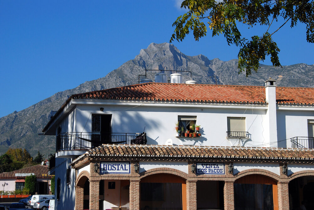 MARBELLA, SPAIN - Hostal on the Golden Mile opposite the Marbella Club Hotel, Marbella, Costa del Sol, Malaga Province, Andalucia, Spain, Europe