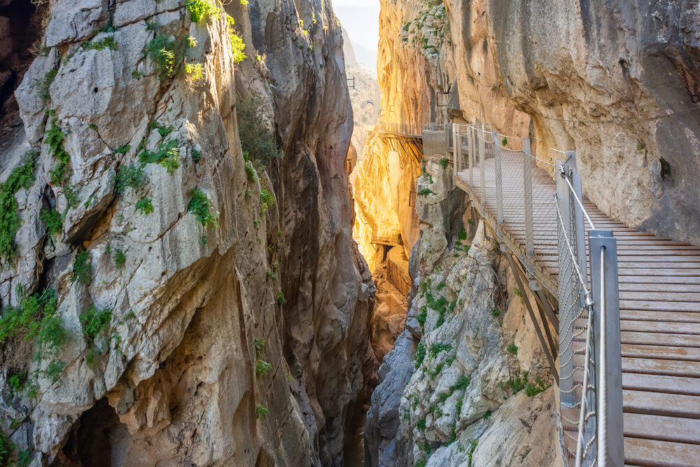 view of El Caminito del Rey or Kings Little Path, one of the most Dangerous Footpath reopened 2015 Malaga, Spain