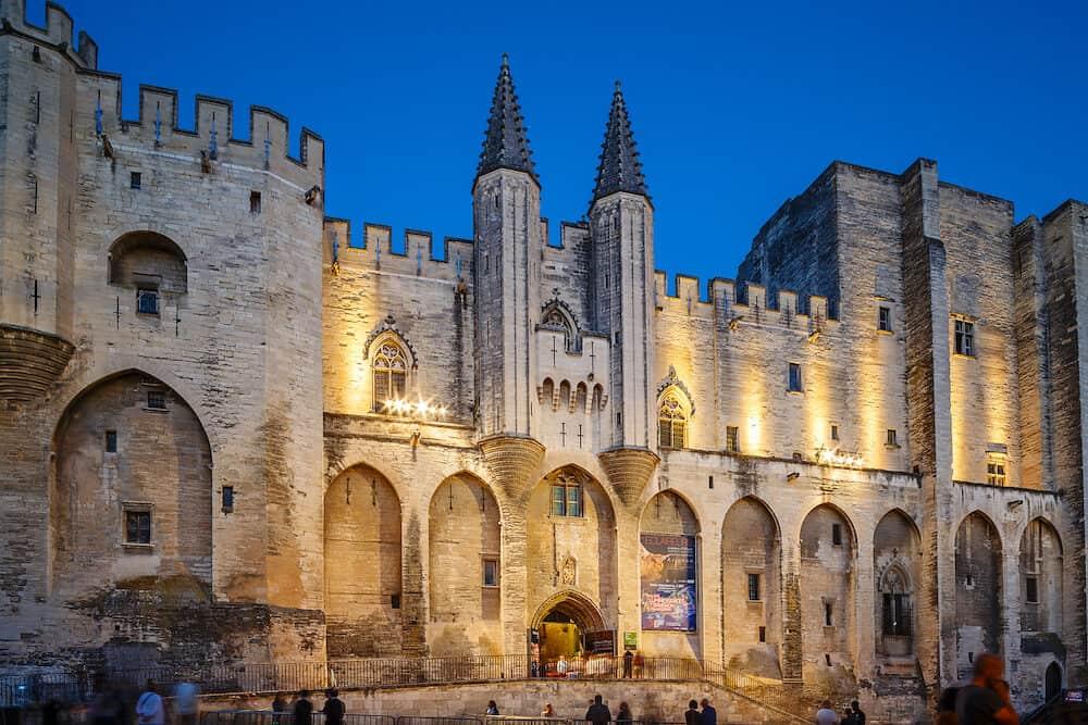 AVIGNON, FRANCE - : Avignon pope palace in the night.