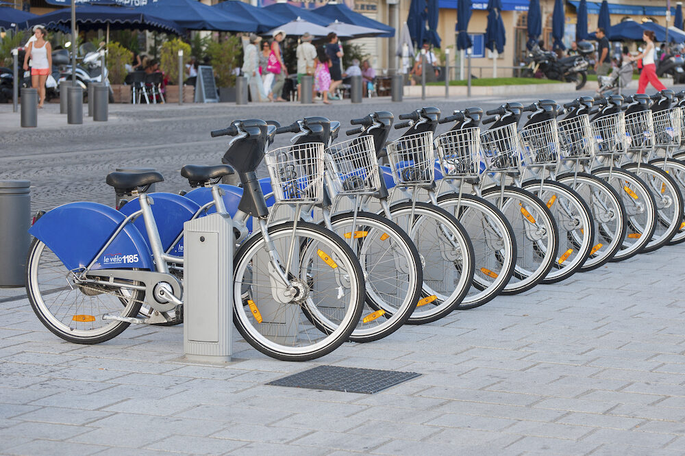 FRANCE MARSEILLE - : Bikes for rent in the port of Marseilles.