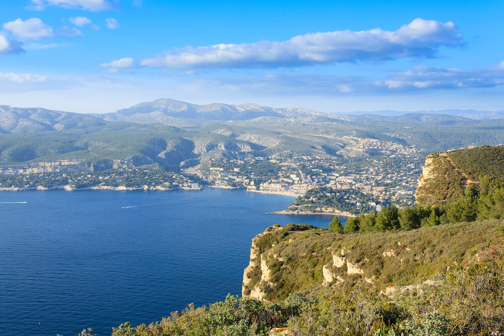 Cassis view from Cape Canaille top France. Beautiful french landscape.