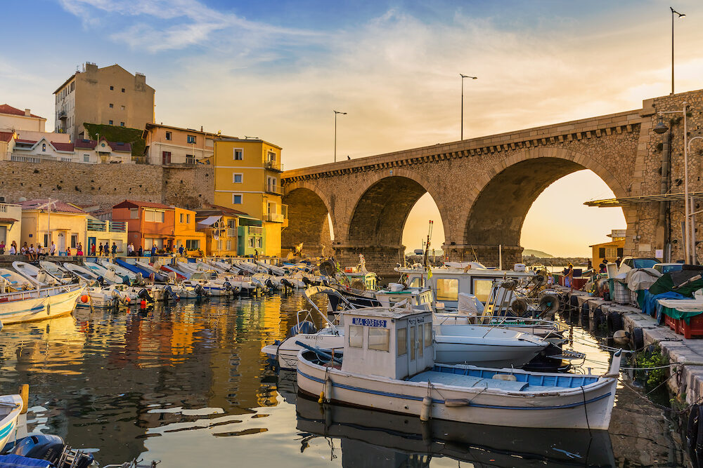 Marseille, France - Fishing boats in harbor Vallon des Auffes.