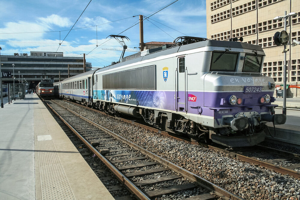 MARSEILLE, FRANCE - Passenger TER Regional Train in Marseille Saint Charles train station, belonging to SNCF company seen in front. This train station is the main hub of Marseilles