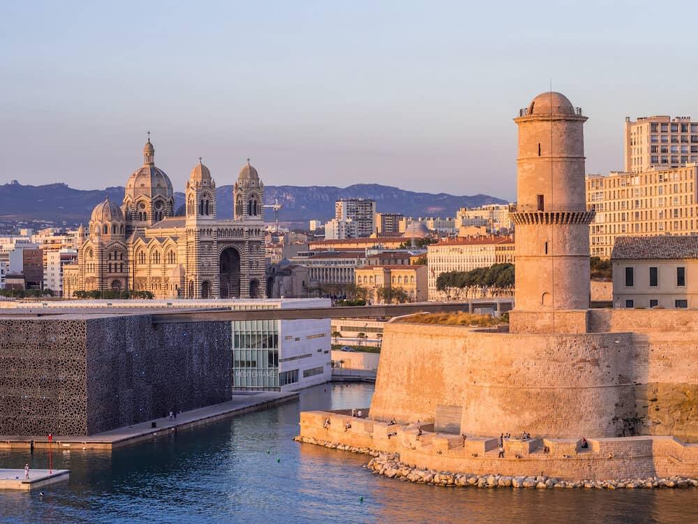 MARSEILLE FRANCE - Saint Jean Castle and Cathedral de la Major and the Vieux port in Marseille France