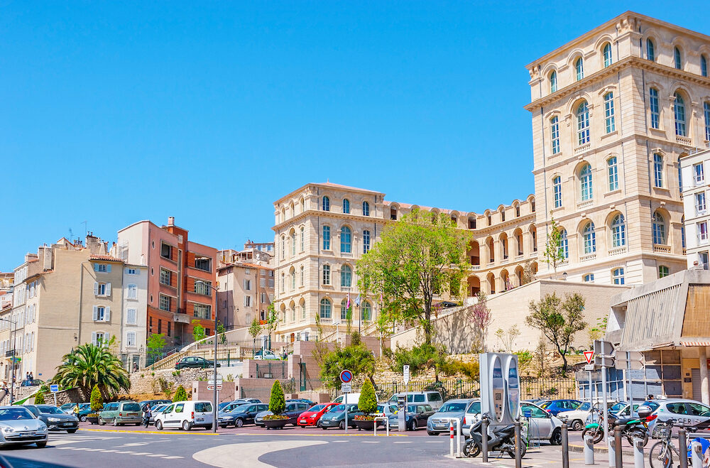 MARSEILLE FRANCE -The Mazeau Square with large car parking and building of InterContinental Hotel Dieu in Marseille.