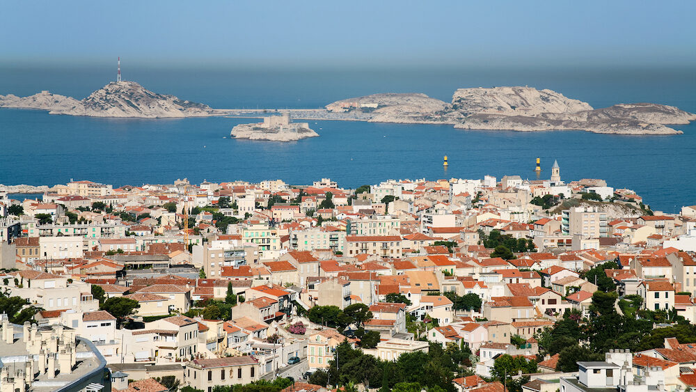 Travel to Provence France - above view of Marseilles city and Chateau d'If island
