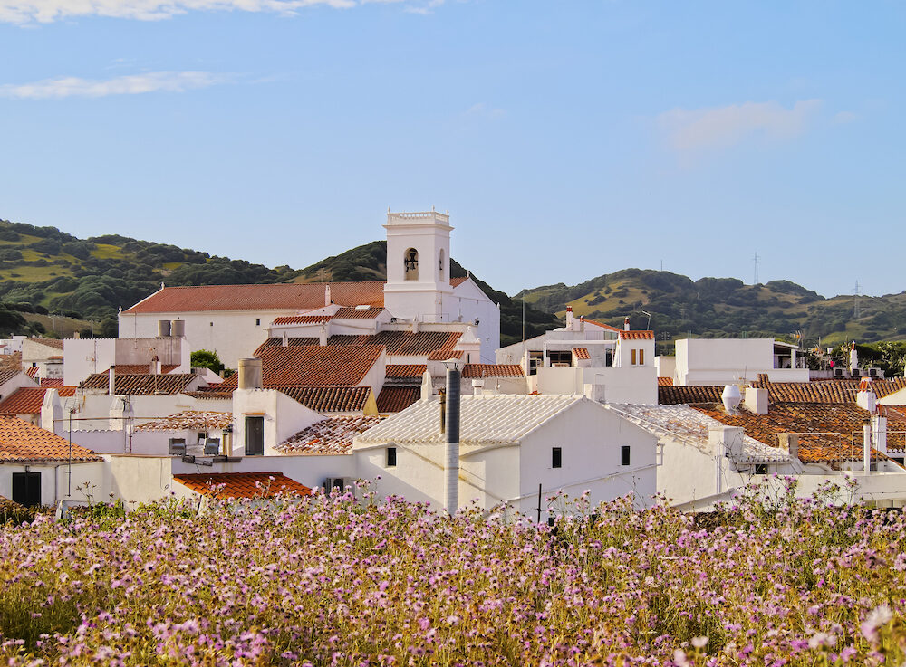 View of Es Mercadal - small town on Menorca Balearic Islands Spain