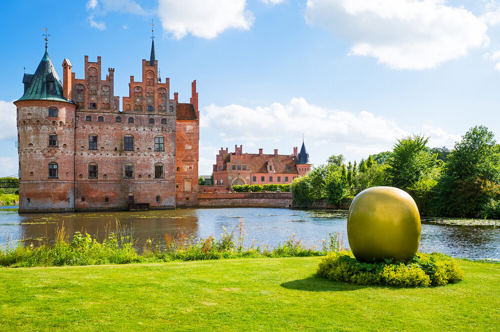 Kvaerndrup Denmark - : Panoramic view of the Egeskov castle