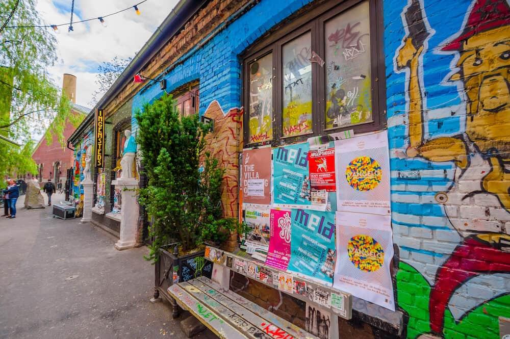 OSLO, NORWAY - Graffiti street art on the walls of buildings in popular artistic area Brenneriveien at Grunerlokka.