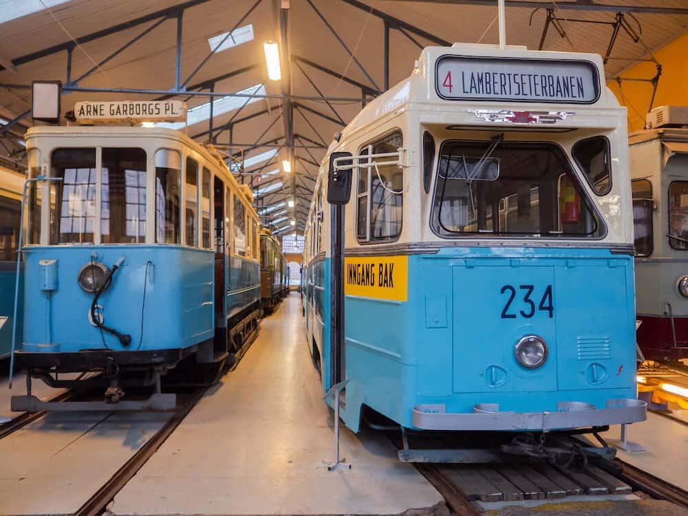 Oslo, Norway - Hoka tram at Oslo Transport Muesum Majorstuen, Oslo, Norway. The Hoka was manufactured in 1957 by HØKA Karosseri- og Jernbanevognfabrikk in Honefoss, Norway.