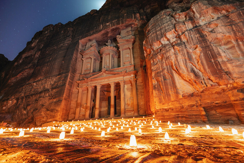 Petra by night, Treasury ancient architecture in canyon, Petra in Jordan. 7 wonders travel destination in Jordan