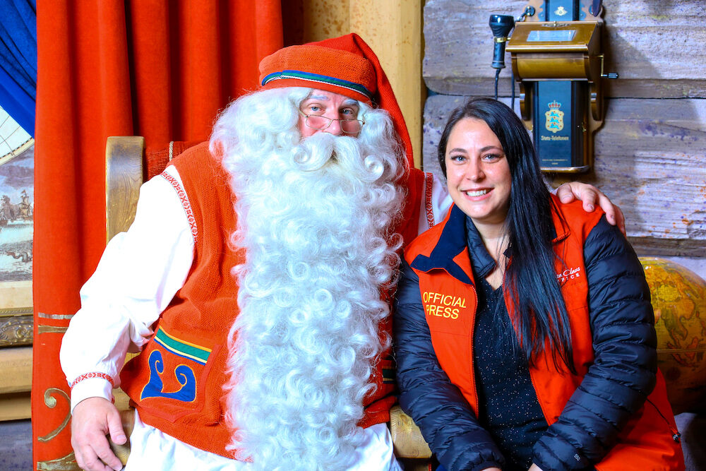 Photo of Sam and Santa at Santas Village in Finland