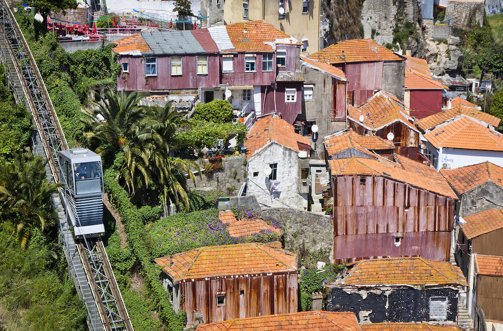 PORTO, PORTUGAL - Aerial view of Funicular dos Guindais and picturesque houses in historic centre of Porto city Portugal