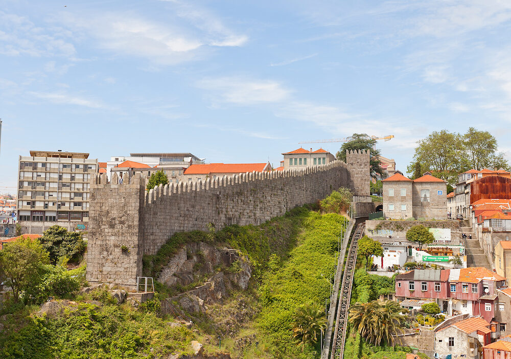 PORTO PORTUGAL - City defensive rampart in Porto Portugal (UNESCO site). Completed in 1370 in the reign of King Ferdinand I so usually called as Ferdinand Walls (Muralha Fernandina)