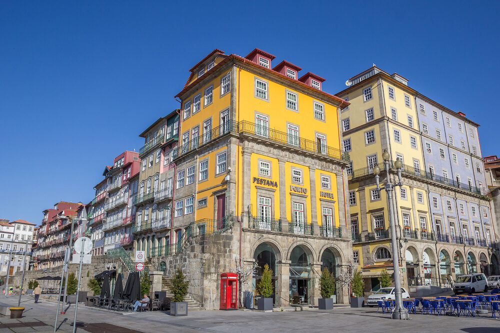 PORTO, PORTUGAL - Hotel and houses at the Ribeira in Porto, Portugal