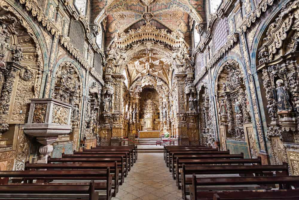 PORTO PORTUGAL - Igreja de Santa Clara interior in Porto Portugal