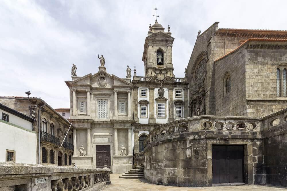 Landmark Gothic church facade of Saint Francis Igreja de Sao Francisco in Porto Portugal.