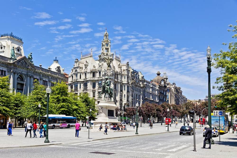 PORTO, PORTUGAL - Liberty Square (Praca da Liberdade) in Porto city, Portugal. Equestrian statue of Dom Pedro IV (Estatua Equestre de Dom Pedro IV) on the foreground