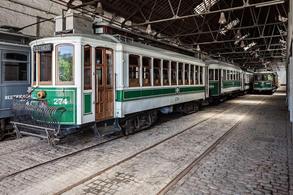 PORTO PORTUGAL - Museu do Carro Electrico (Tram Museum) in Porto Portugal