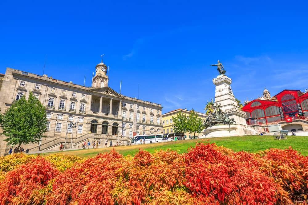 Porto, Portugal -coloful Prince Henry Square and Gardens or Jardim do Infante Dom Henrique and Stock Exchange Palace or Palacio da Bolsa, a national monument and Unesco Heritage