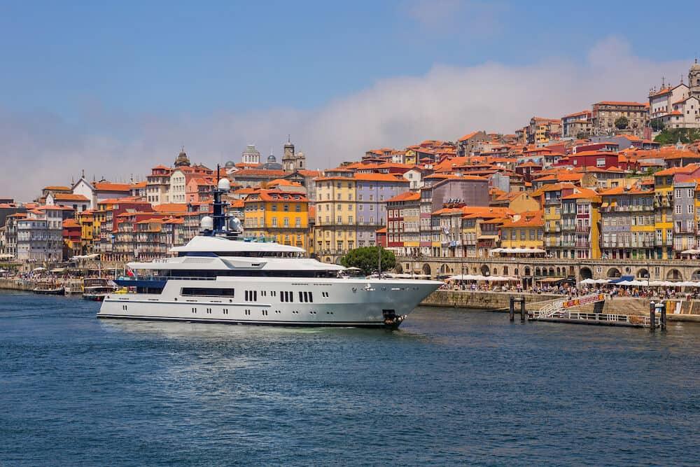 PORTO, PORTUGAL - the famous houses of the Ribeira in the Douro River bank near the Dom Luis I Bridge, Porto, Portugal.