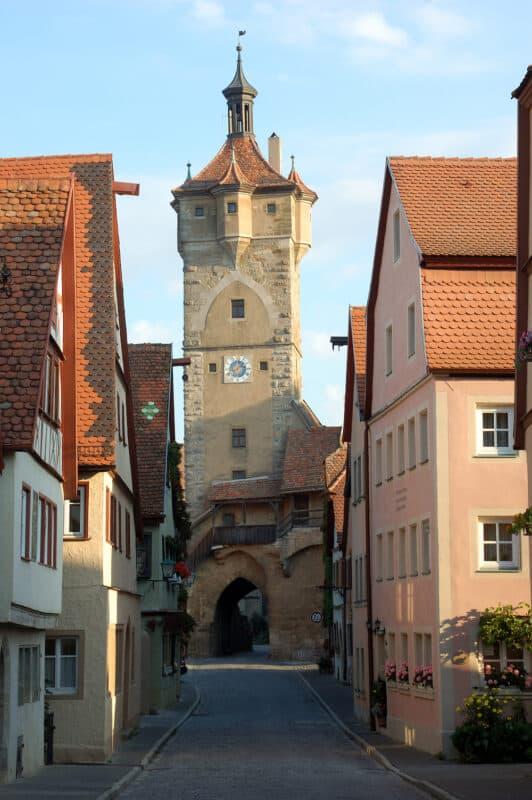 Street scene in the medieval German town Rothenburg ob der Tauber