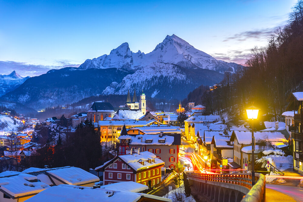Historic town of Berchtesgaden with famous Watzmann mountain in the background, National park Berchtesgadener, Upper Bavaria, Germany