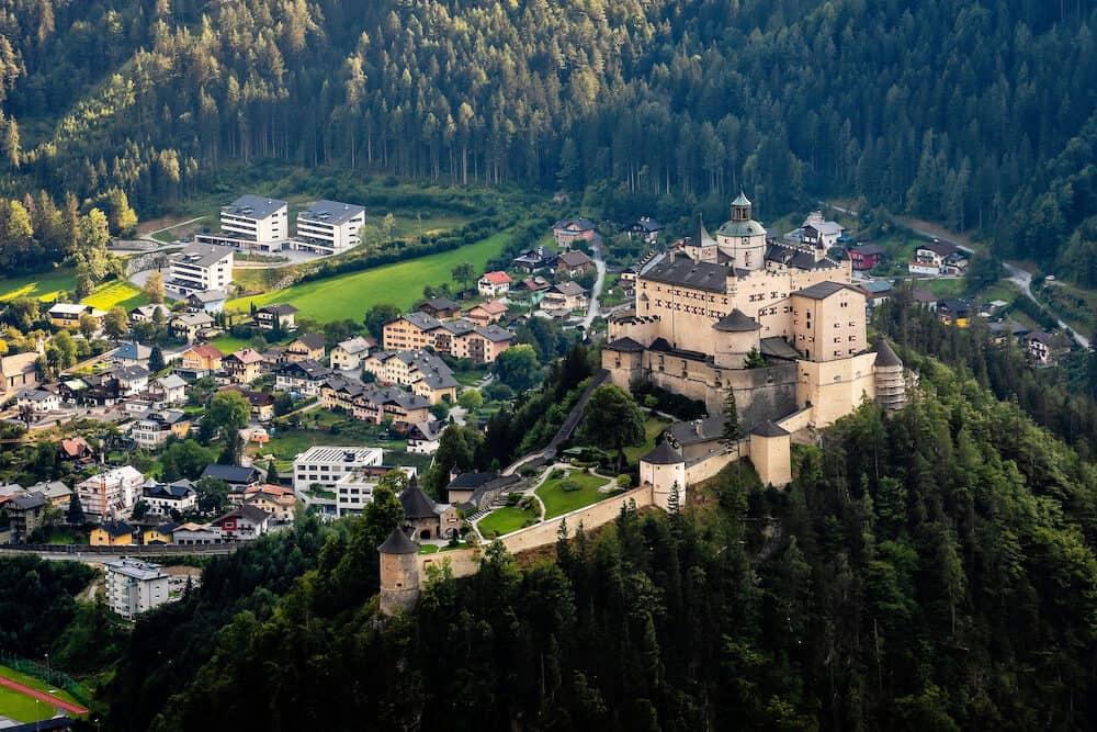 Hohenwerfen castle and fortress above the Salzach valley at Werfen on Austria