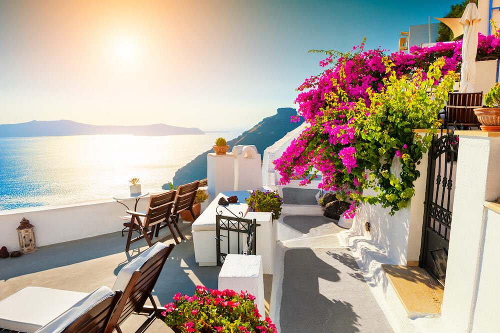 Beautiful sunset at Santorini island, Greece. Summer landscape with sea view. Famous travel destination