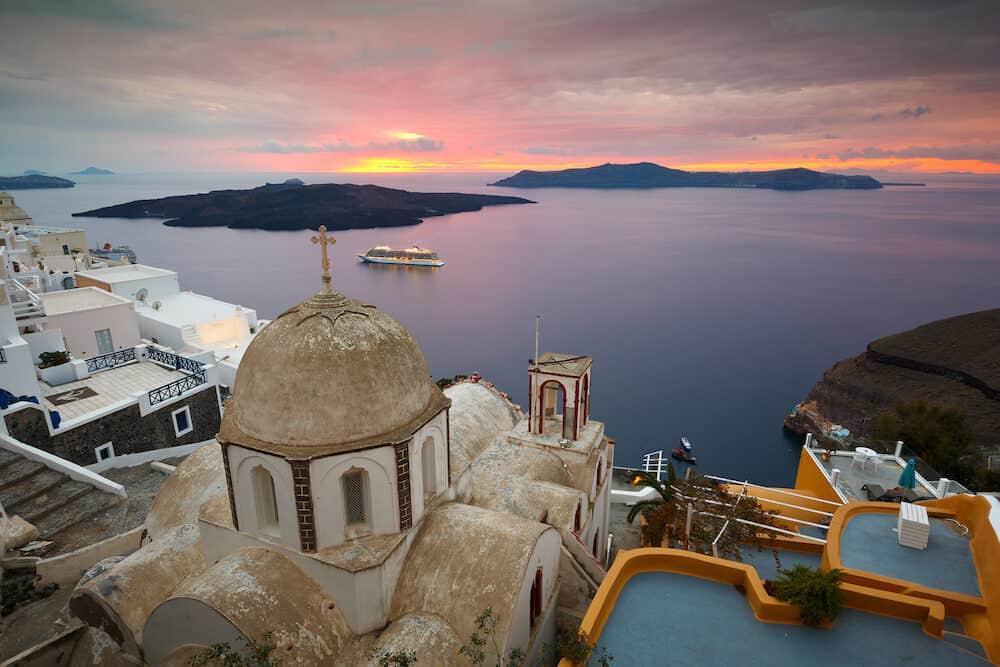 Fira, Greece - Town of Fira on Santorini island, Greece.