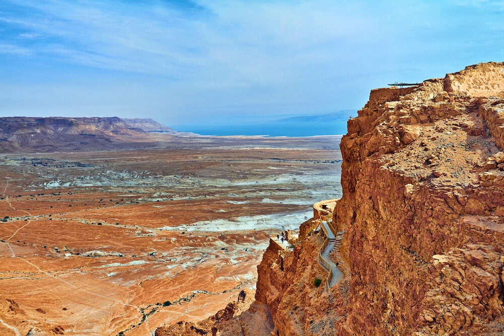 Scenic view of Masada mount in Judean desert near Dead Sea, Israel. Snake Path, favorite tourist hiking destination in Israel, great way to visit Herods mountain palace, Masada, Israel