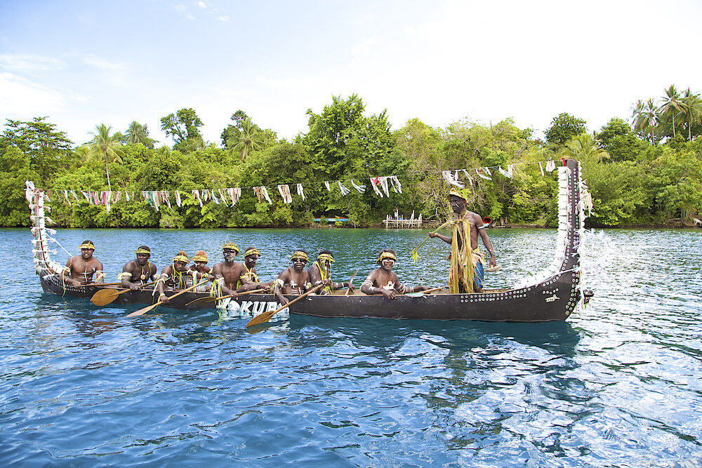 MAROVO LAGOON, SOLOMON ISLANDS Island residents are use traditional canoe. Marovo Lagoon, Solomon Islands