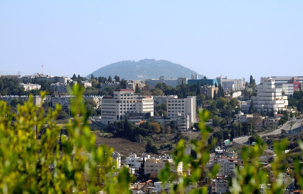 NAZARETH, ISRAEL - View of the modern houses of Upper Nazareth and Mount Tavor
