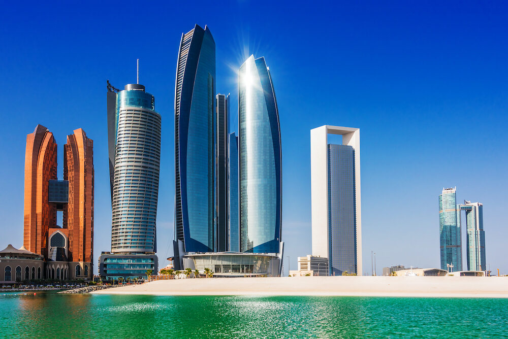 ABU DHABI, UNITED ARAB EMIRATES - Etihad Towers in Abu Dhabi, United Arab Emirates