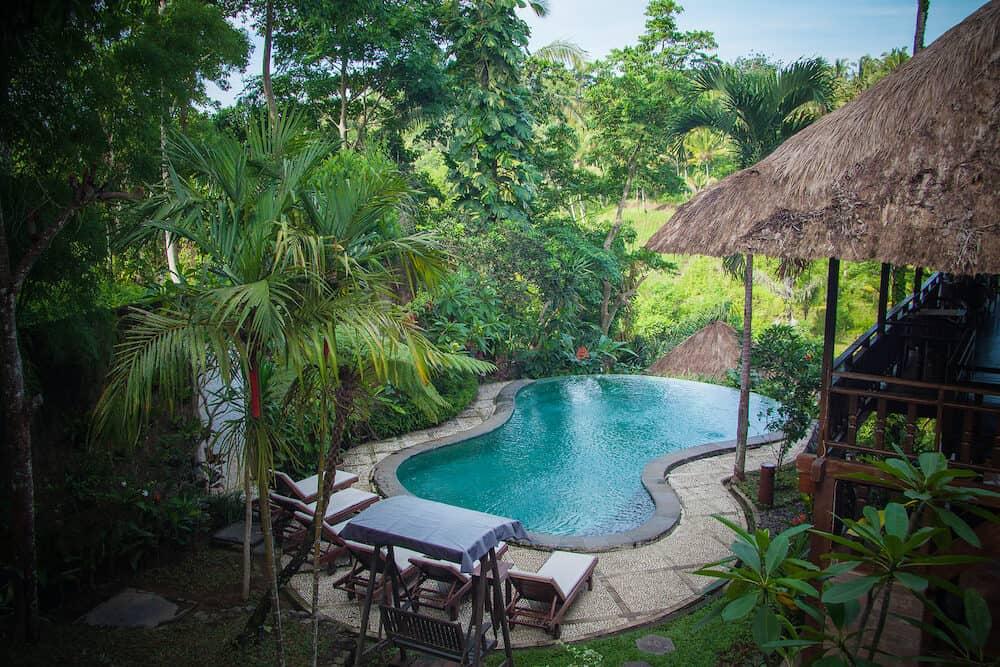 Beautiful hotel infinity pool in Bali, Indonesia