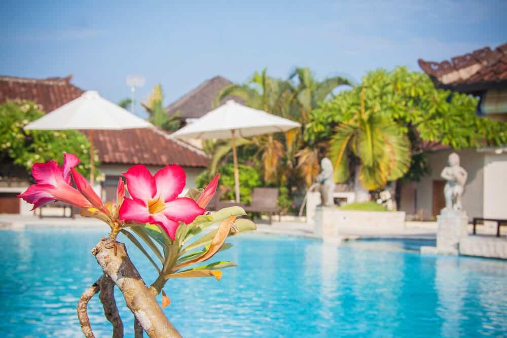 Beautiful infinity hotel pool in Bali Indonesia