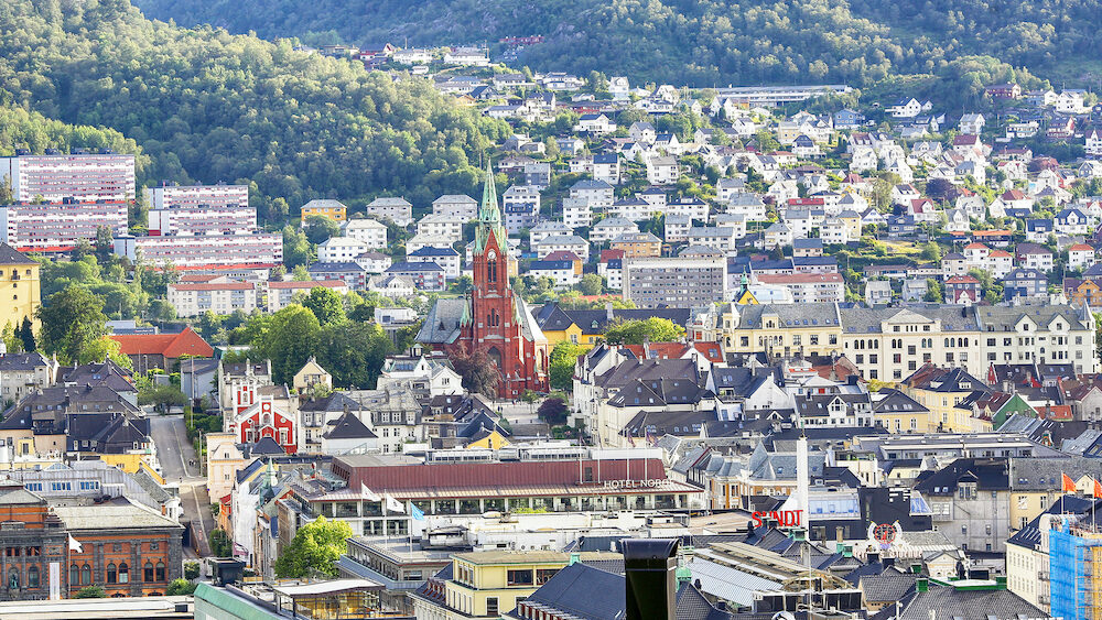Bergen, Norway. Aerial view of the Cathedral in the Norwegian city Bergen