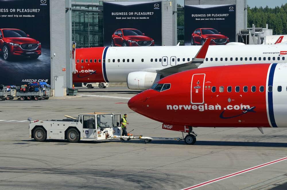 Airliner of Norwegian Air Shuttle at Oslo Gardermoen airport.