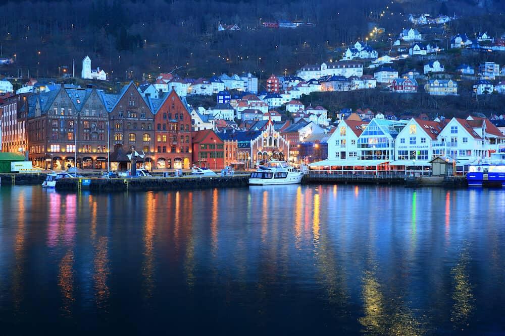 Bergen, Norway - Bergen overview at dusk