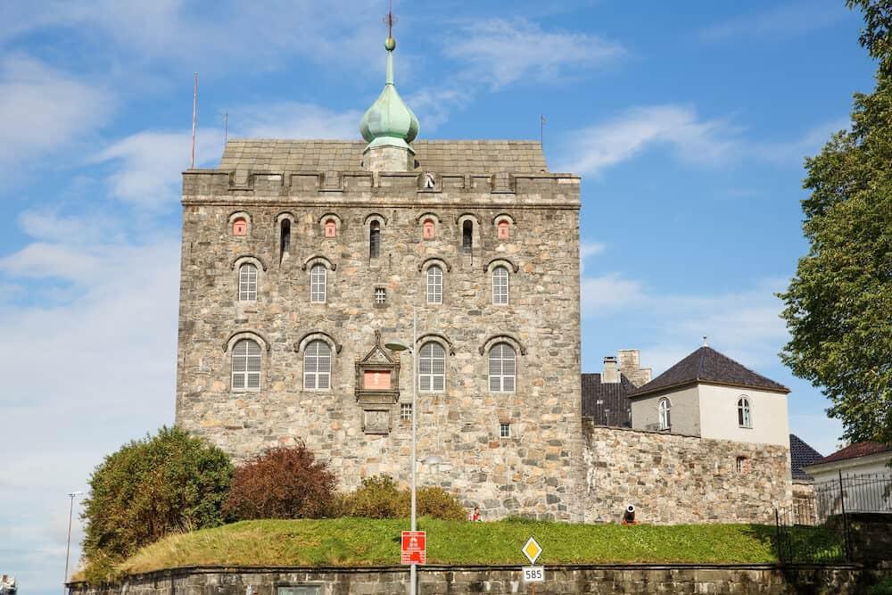 Bergen, Norway- Bergenhus Fortress and Rosenkrantz Tower in the historical part of Norwegian city.