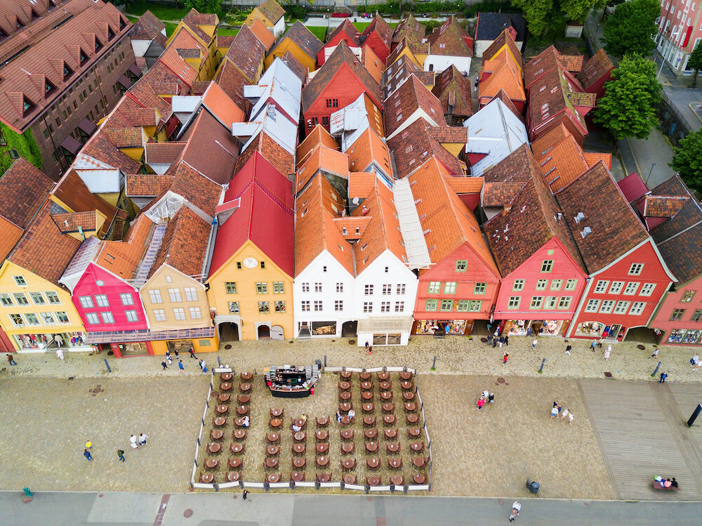 Bryggen aerial panoramic view. Bryggen is a series commercial buildings at the Vagen harbour in Bergen, Norway.